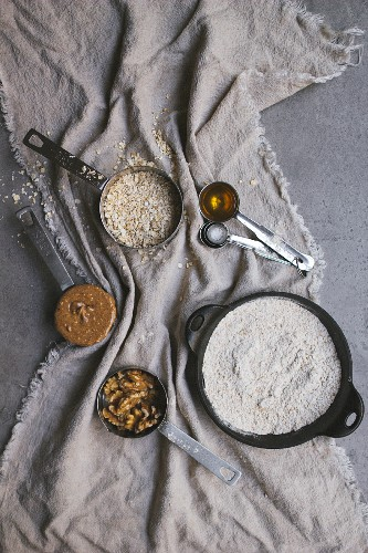 Baking ingredients with nuts and flour