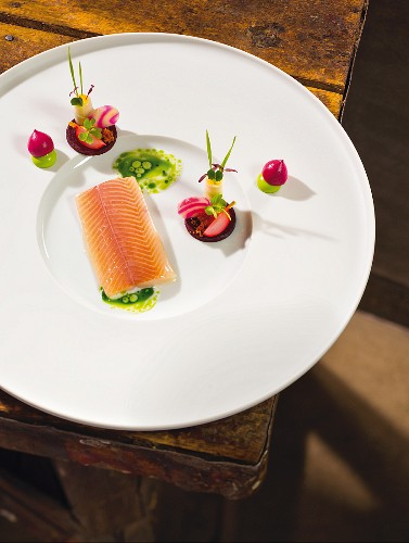 Bavarian trout cooked in hemp oil (dish by Jan Hartwig, cook at the 'Atelier' in 'Bayerischen Hof' in Munich)