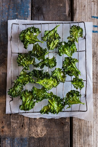 Kale chips on a wire rack