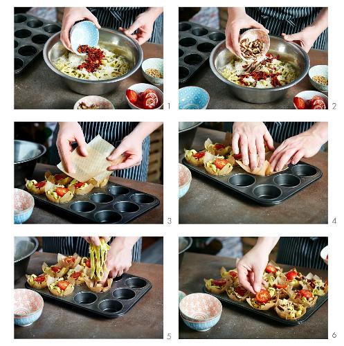 Nudelnester mit Tomaten im Muffinblech zubereiten