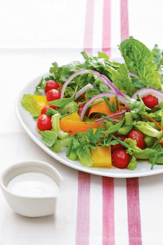 A garden salad made with cos lettuce, celery, tomatoes, peppers and carrots