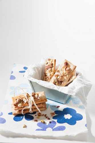 Rectangular biscuits with nuts