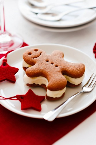 A Christmas gingerbread man ice cream sandwich