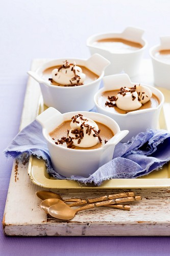 Coffee caramel cream with dollops of whipped cream