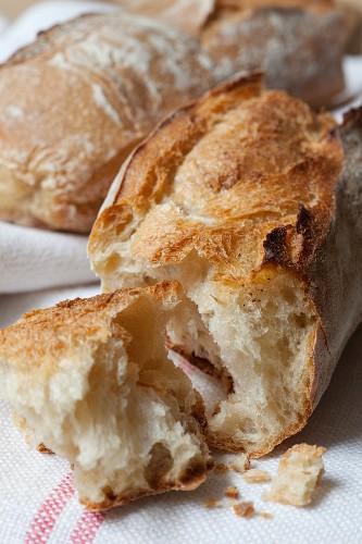 Broken baguette (close-up)