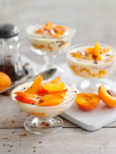 Apricots and orange sabayon with ginger