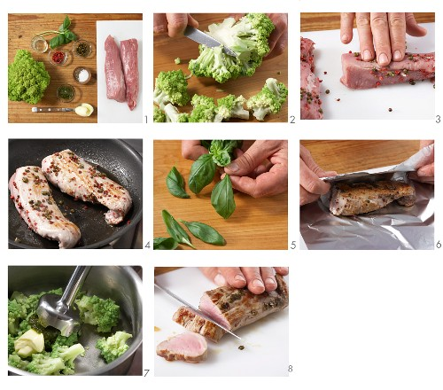 Peppered pork fillet sculpted aluminium foil with Romanesco broccoli purée being made
