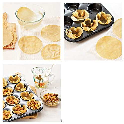 Filling papadum bowls
