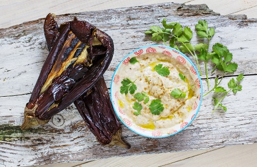 Baba ganoush with aubergine skins and coriander