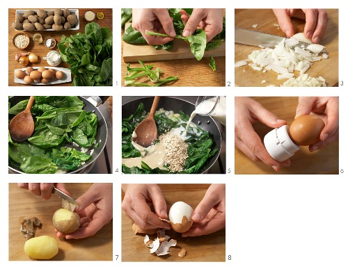 Soft-boiled eggs with spinach sauce and potatoes being made