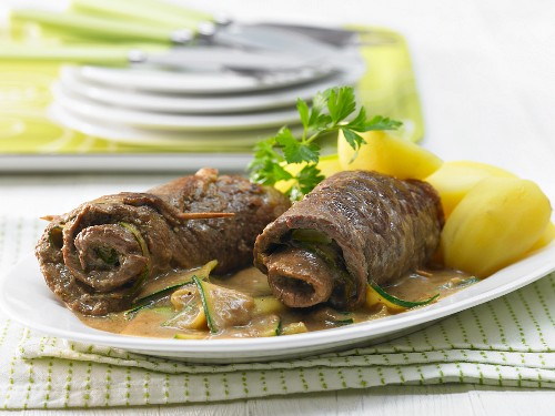 Beef roulade with a courgette medley and potatoes