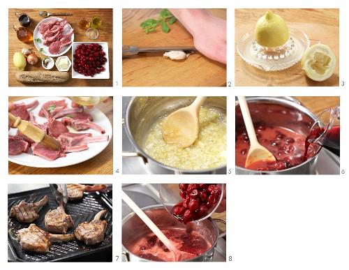 Lammkoteletts mit Kirschsauce zubereiten