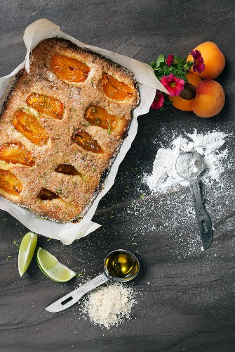 Olive oil cake with apricots and lime