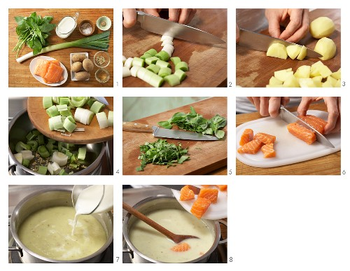 Cream of potato soup with salmon being made