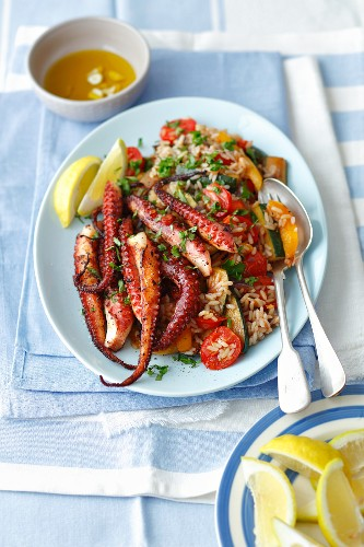 Grilled octopus with rice and vegetables