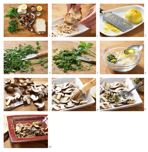 Marinated chestnut mushrooms with gremolata being made