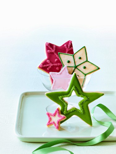 Various Christmas star biscuits
