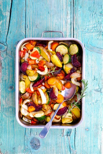 Mediterranean oven-roasted vegetables with rosemary