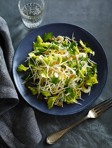 Celery salad with celery leaves