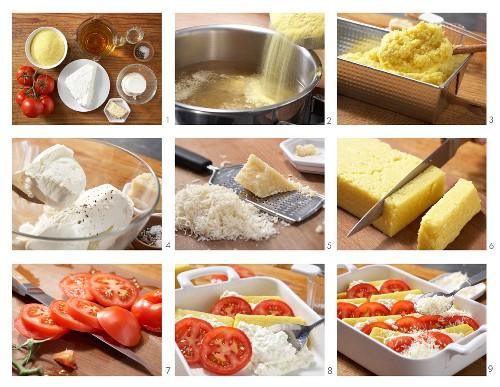 How to prepare polenta, cheese and tomato bake