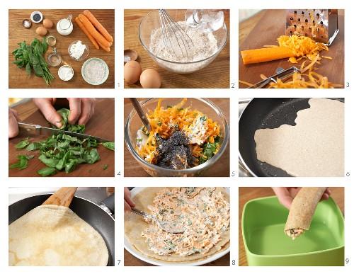 Pfannkuchenröllchen mit Möhren-Mohn-Füllung zubereiten