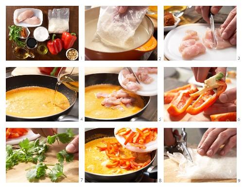 Erdnuss-Hähnchencurry mit Paprika und Reis zubereiten