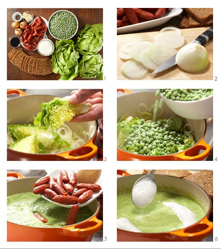 How to prepare pea soup with mini cabanossi