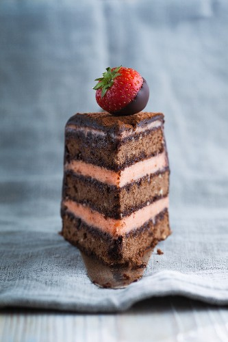 A piece of chocolate sponge cake filled with strawberry buttercream