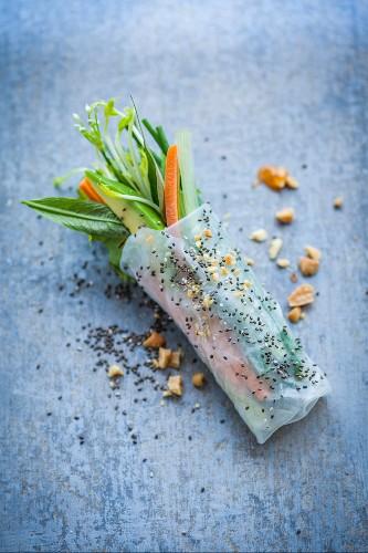 Superfood Summer Rolls: Reispapierröllchen mit Gemüsefüllung und Chia