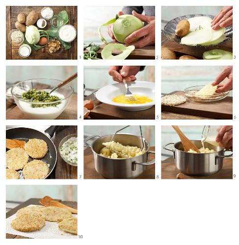 How to prepare kohlrabi rounds with walnut dip and potato purée