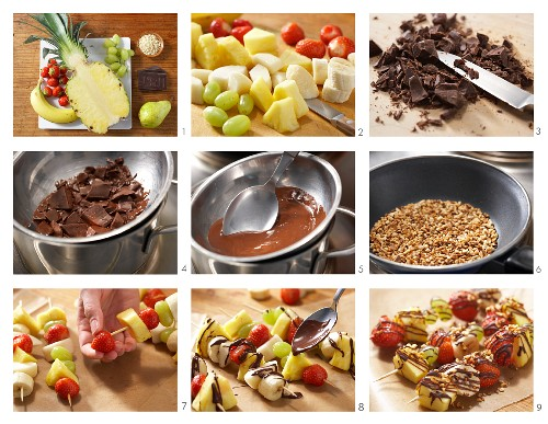 How to prepare fruit kebabs with chocolate and chopped almonds