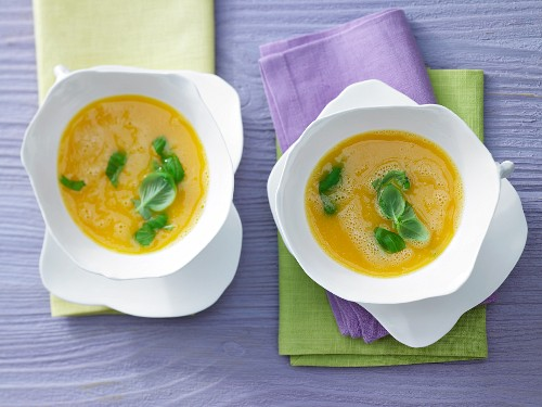 Apricot and carrot soup with chilli and honey