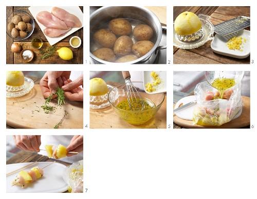How to prepare chicken & potato kebabs
