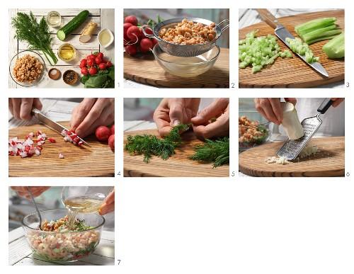 How to prepare shrimp vinaigrette with radish and cucumber