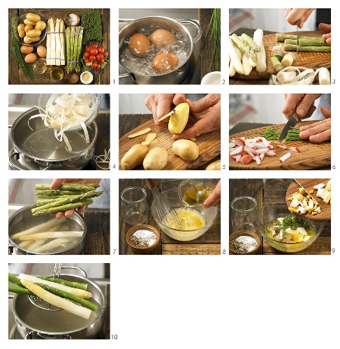 How to prepare asparagus with egg vinaigrette and potatoes
