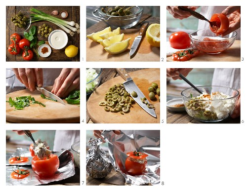 Gefüllte Ricotta-Tomaten mit Kräutern und Kapern zubereiten