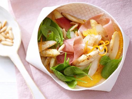 Asparagus & orange salad with Serrano ham and pine nuts
