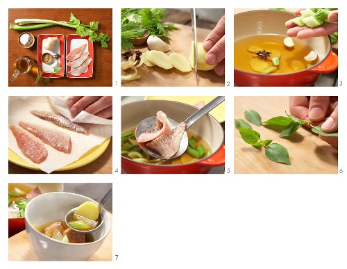 How to prepare clear broth with red mullet and ginger