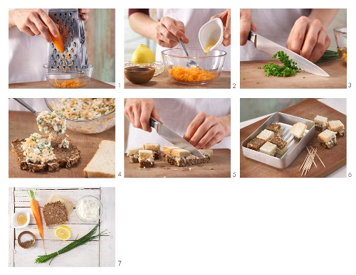 How to prepare brown and white sandwiches with cream cheese and carrots