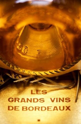 Bottle of fine sweet wine Chateau d'Yquem, Sauternes