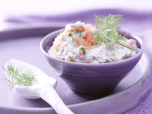 Smoked salmon and cheese cream with dill and horseradish
