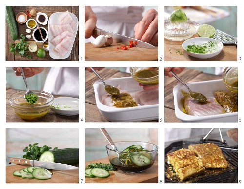 How to prepare grilled curry coalfish