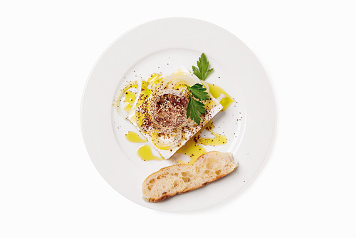 Feta cheese with dressing and sumac