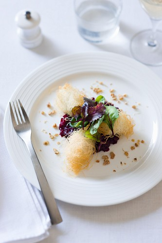 Persian feta cheese wrapped in kadaifi with a beetroot relish