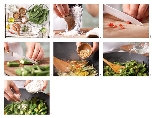 How to prepare vegetable curry with okra and desiccated coconut