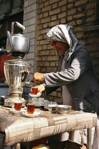 A tea seller at the Bazaar in Kerman, Iran