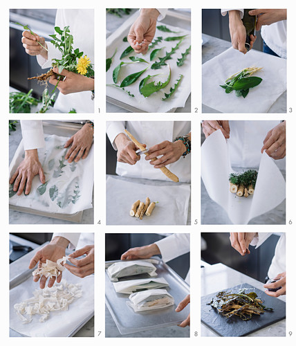 How to make oven-baked wild herbs, wild root and filo pastry chips