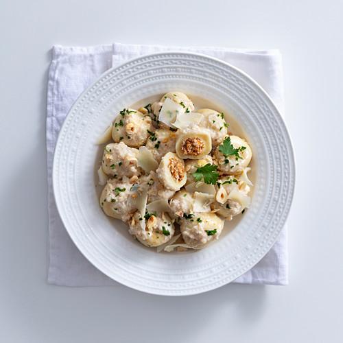 Ricotta gnocchi filled with chanterelle mushrooms and hazelnut sauce