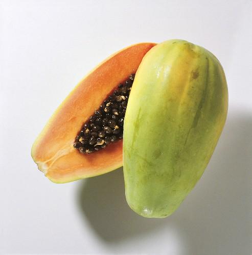 One Papaya Cut in Half