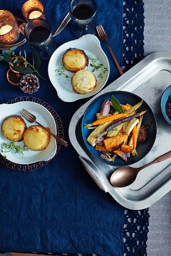 Individual potato gratin dn rosemary roast vegetables